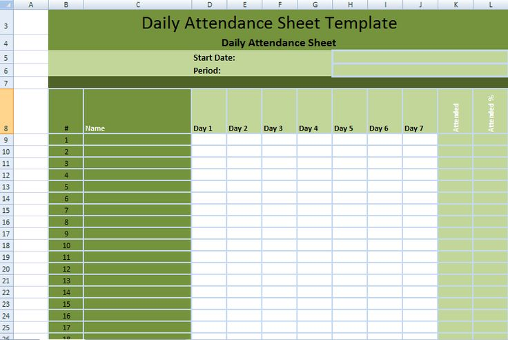 Daily Employee Attendance Sheet in Excel Template ExcelDox - monthly attendance sheet template excel