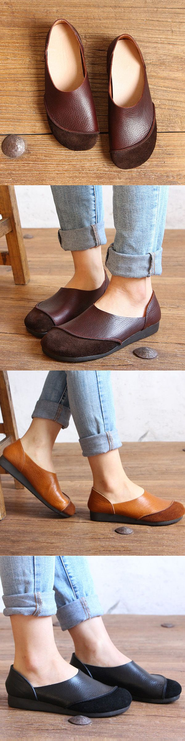 【 47% OFF】Socofy Genuine Leather Color Match Soft Flat Slip On Loafers_Soft Leather Flats_Genuine Leather Shoes For Woman