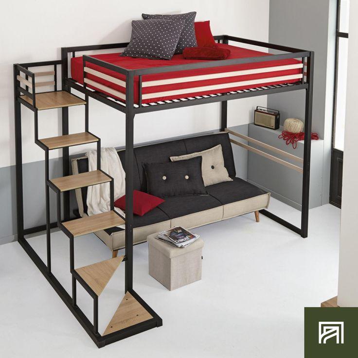 Alinea home lit mezzanine 2 places noir avec sommier - Lit mezzanine 2 places 160x200 ...