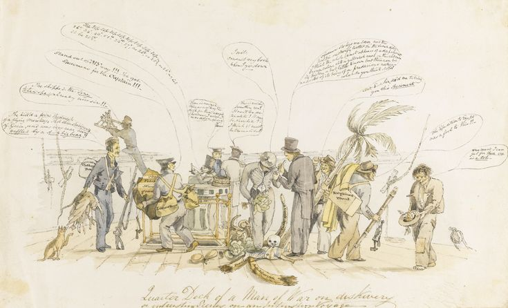Darwin, Charles--Earle, Augustus (attrib.) | CARICATURE GROUP PORTRAIT ON BOARD HMS BEAGLE | Sotheby's