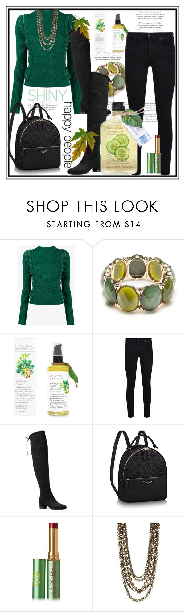 """""""Shiny Happy People"""" by helenaymangual ❤ liked on Polyvore featuring Philosophy di Lorenzo Serafini, New Directions, 7 For All Mankind, MICHAEL Michael Kors, Tata Harper and Kenneth Jay Lane"""