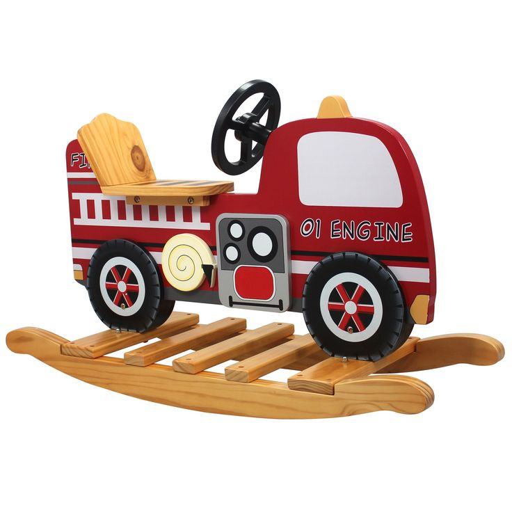 Teamson Kids - Trains & Trucks Fire Engine Rocker. Safe, Sturdy & Wood with Lead Free Paints - CPSIA Compliant. Carefully Packaged Unique Hand Painted Hand Carved Design by Skilled Craftsman. Suitable for Kids Bedroom and Playroom to develop Imagination and Creativity with Whimsical Pieces. Easy Assembly; Best Gift for Kids Birthday; Christmas Gift; Baby Shower & many happy moments. Study and durable wooden construction with non-toxic paint by Teamson Design Corp. Perfect addition to...