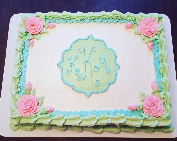 Pretty Pastel Monogram Baby Shower Birthday Sheet Cake