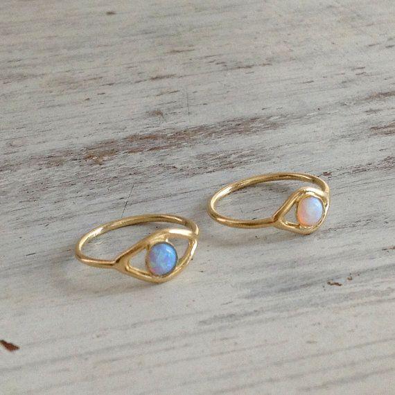 Evil eye ring, gold ring, stacking ring, eye, evil eye jewelry, opal stone - R001