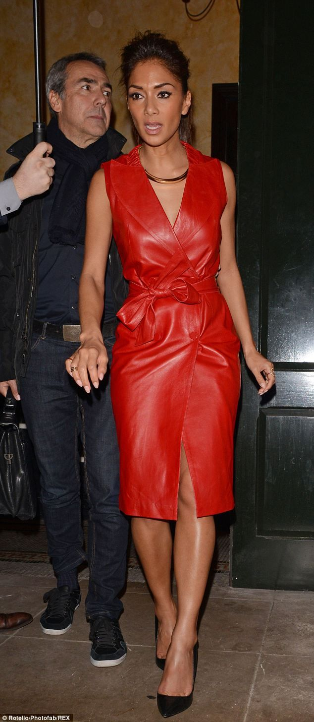 Red leather coat dress