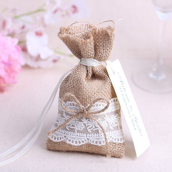 Beautiful Rustic Burlap And Lace Wedding Party Favour Favor Bags With Ties And Tags