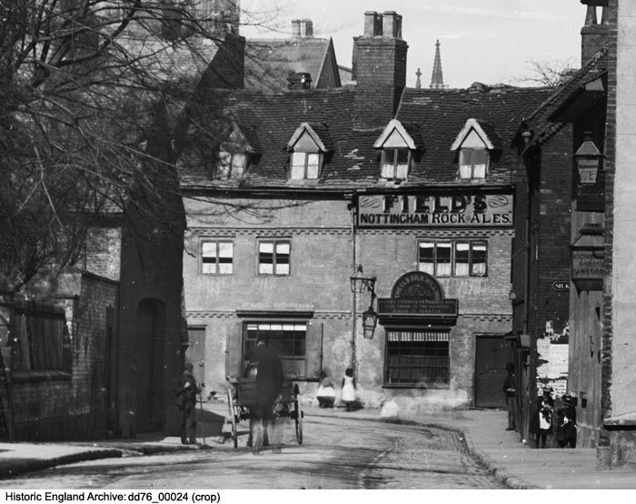 DD76/00024 (Crop) The Old Silk Mill Inn on Full Street, Derby.   Date:1880 - 1900.   Photographer: London Midland and Scottish Railway.  Please click for more information or to search our collections.