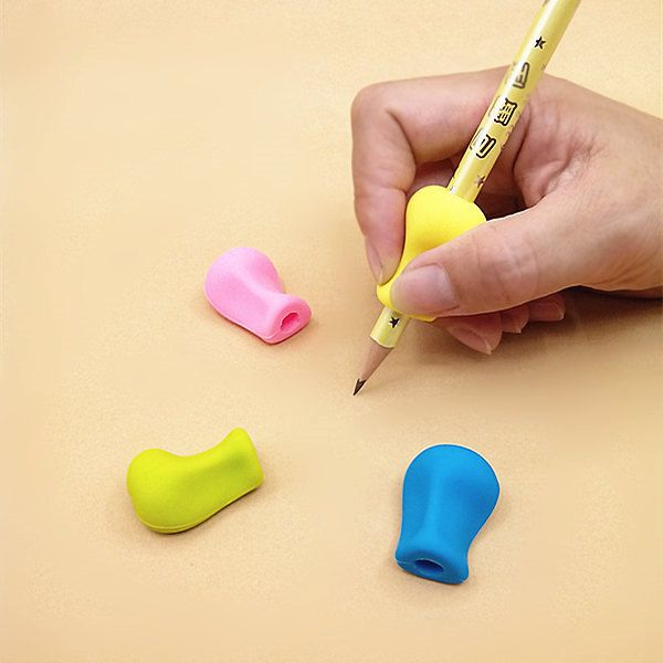 4pc Pencil Grips Occupational Therapy Handwriting Aid Kids Children student School Stationery Pen Control Right Silicone Writing