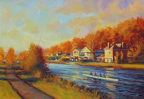 Norman Teeling 'Rowing on the Liffey' #art #painting #rowing #river #Liffey #trees #autumn #NormanTeeling #DukeStreetGallery