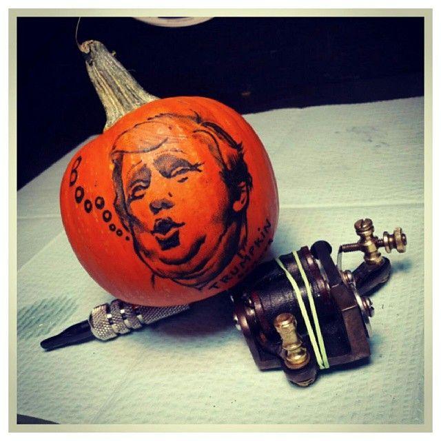 Trumpkin jack-o-lantern by Maryn Charles @mcskware  #superscary #donaldtrump #orangepeople #halloween #ladytattooerspdx #tattoooftheday #portlandlife