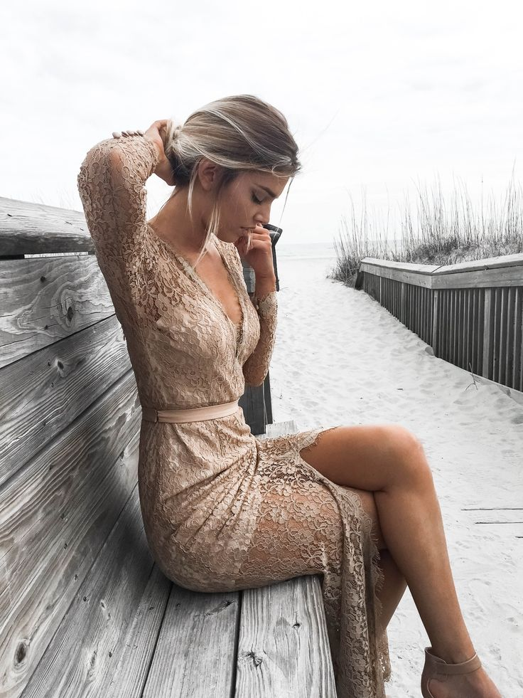 Head over heels for this stunning nude bridesmaids dress!