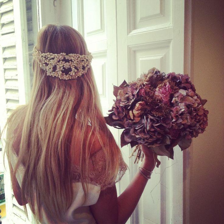 Waxflower bridal crown   Le Touquet, Madrid