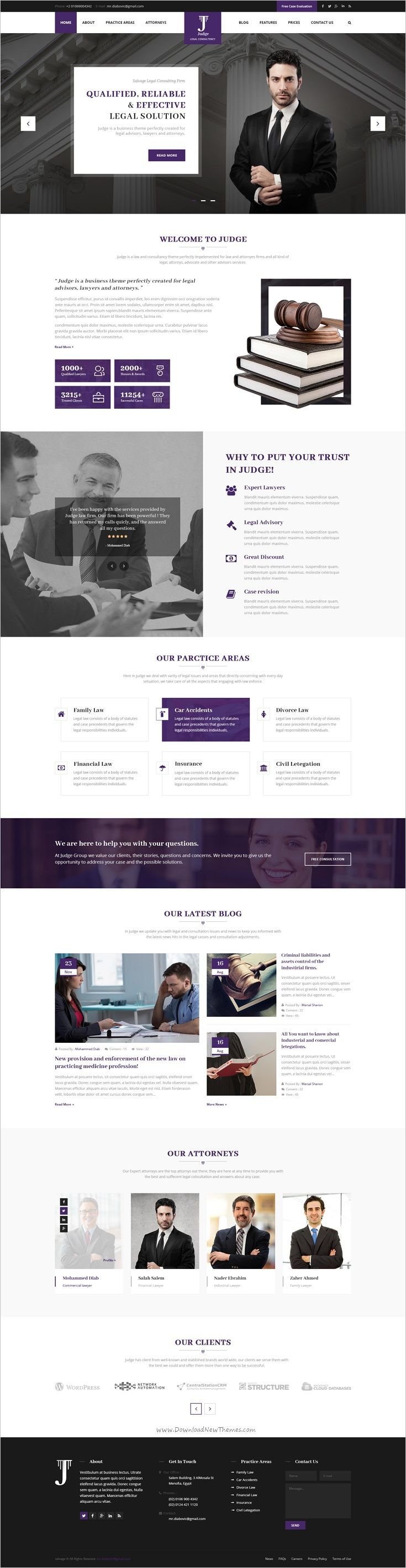 Judge is a clean and modern #law #firm #PSD template, which perfectly suited for #webdev Law Firm, Law Advisers, Legal Officers, Legal Advisers, Legal offices, Lawyers, Attorneys, Counsels, Advocates and other legal and law-related services website download now➩   https://themeforest.net/item/judge-psd-template-for-law-firm-and-lawyer/18944954?ref=Datasata