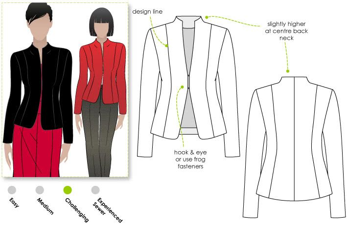 Janet Jacket Sewing Pattern By Style Arc