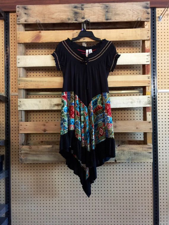 Upcycled Boho boer jurk kleurrijke Azteekse Gypsy jurk