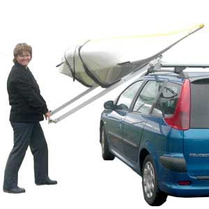 Kari-Tek's Easy Load Roof Rack suits both kayaks canoes. It fits your vehicle's existing roof bars and lowers to the side for safe, easy and secure loading. Versions are available for cars, vans and high top vehicles.