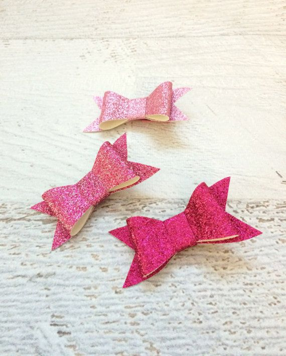 Pink Glitter Bows  Mini Glitter Hair Bows  by MiniMayDesigns