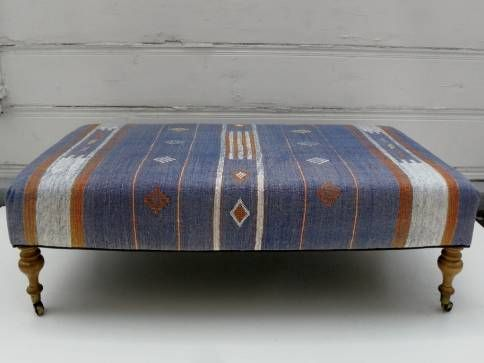 Rectangular Ottoman Bench Covered in Vintage Rug Turned