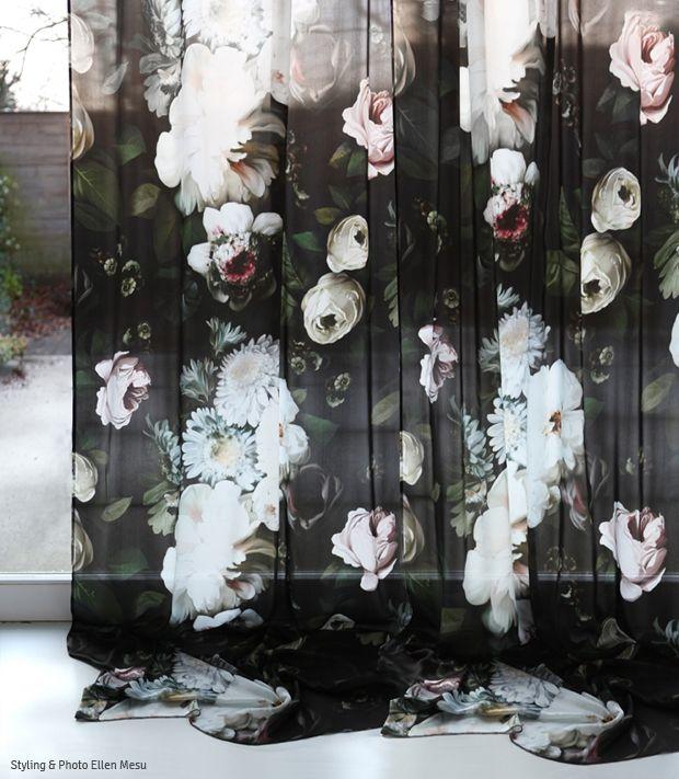 Ellie Cashman Dark Floral Curtains on silk charmeuse. Photo & Styling by Ellen Mesu. Available January 2015 at www.elliecashmandesign.com.