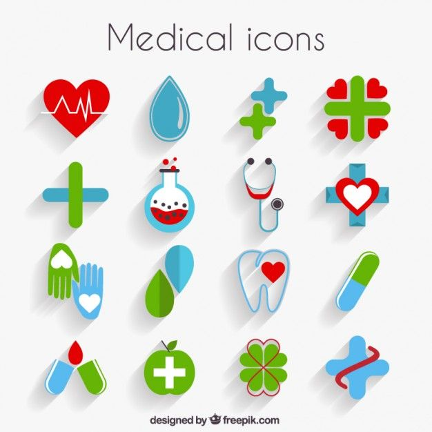 Cute medical icons in flat design Free Vector | картинки ...