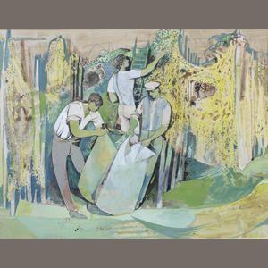 John Minton (British, 1917-1957) The Hop Pickers 26 x 33.5 cm. (10 1/4 x 13 1/4 in.)