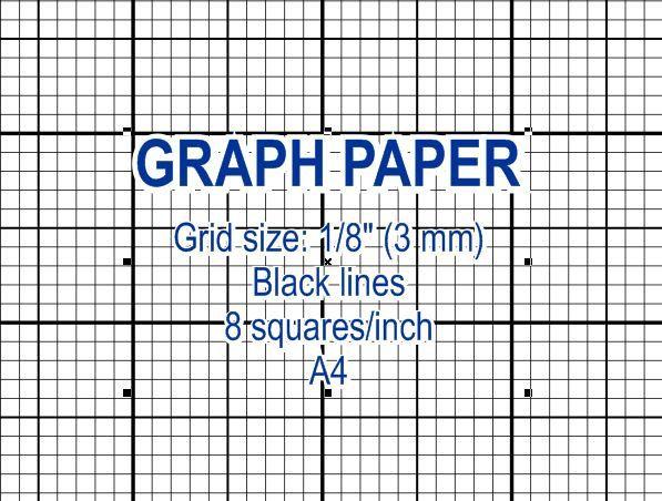 graph paper  printable 3 mm grid  cross stitch design  8 squares per inch  black lines  a4