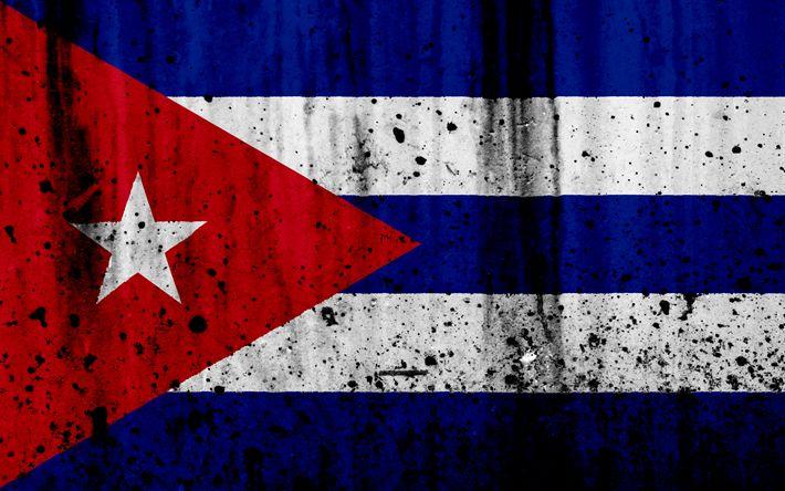 Download wallpapers Cuban flag, 4k, grunge, flag of Cuba, North America, Cuba, national symbols, Cuba national flag