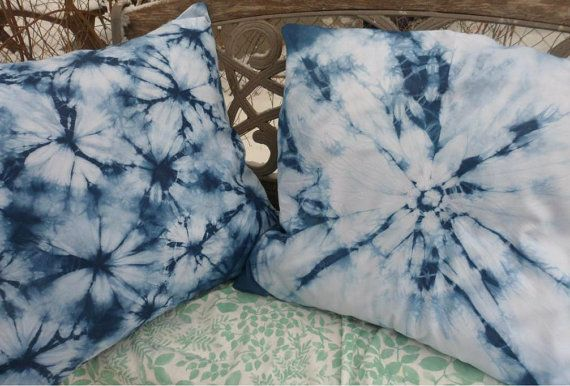 Shibori Indigo Pillow Cover Flower Design by MilkweedQuilts, $50.00