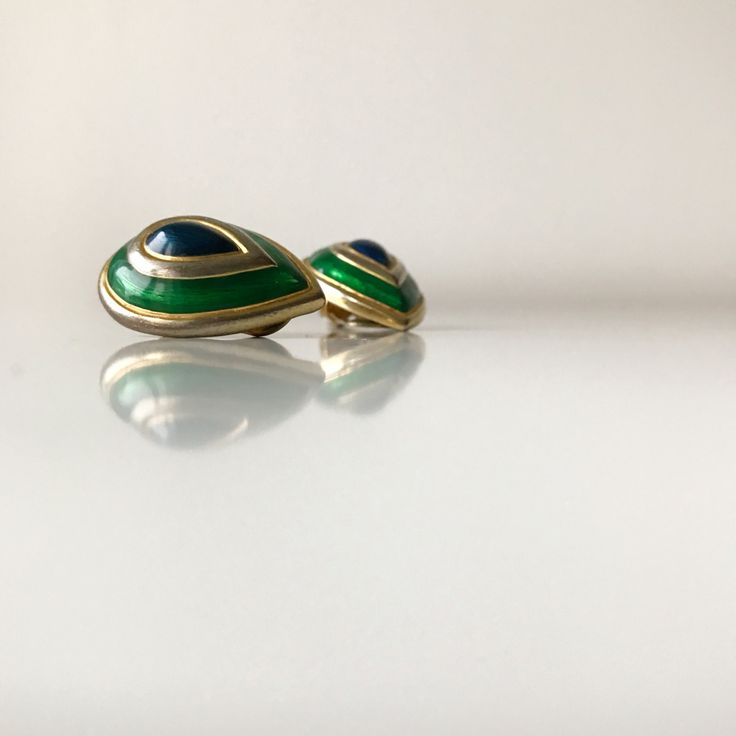 Vintage clip on blue and green enamel earrings. by ReOSL on Etsy