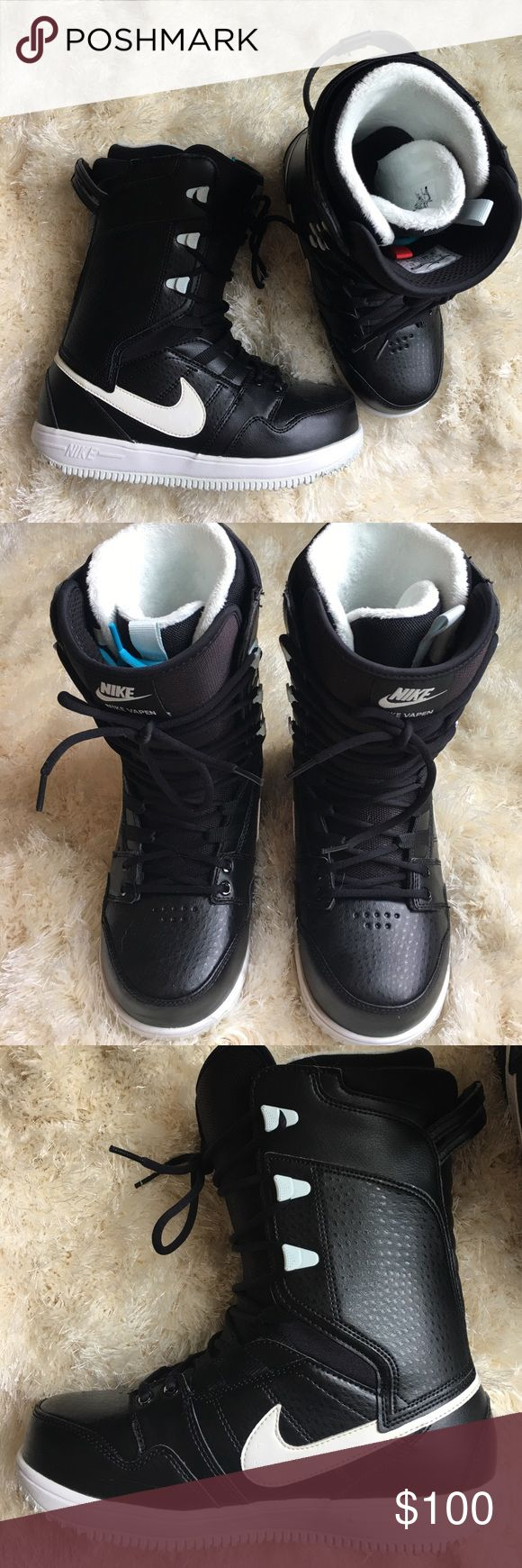 Nike Vapen Women's Snowboard Boots Too big for me unfortunately. Worn a couple times and like new! No marks or any issues with the boots. They are leather exterior with fur lining. No trades. Nike Shoes Winter & Rain Boots