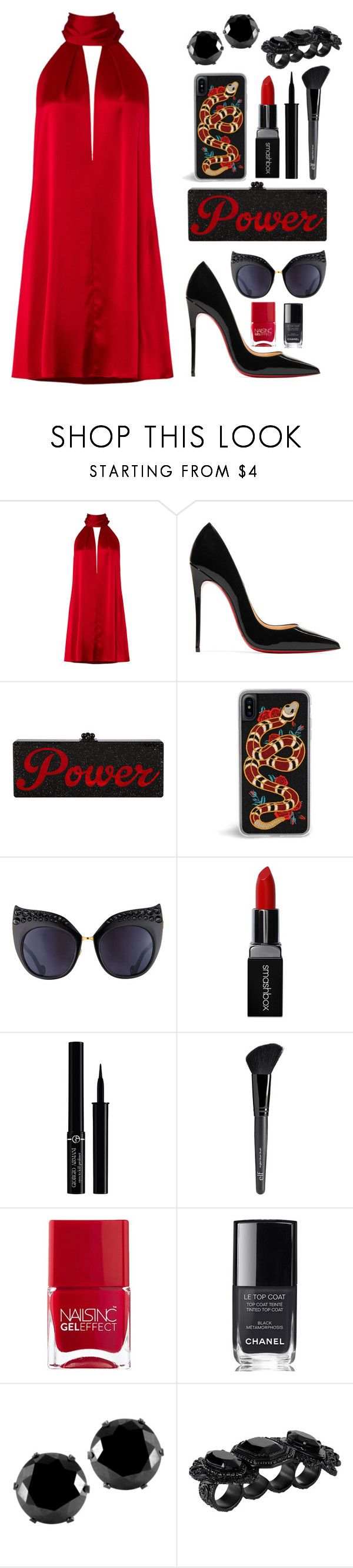 """POWER"" by ellesbells78 ❤ liked on Polyvore featuring Galvan, Christian Louboutin, Anna-Karin Karlsson, Smashbox, Giorgio Armani, Old Navy, Nails Inc., Chanel, West Coast Jewelry and Dsquared2"