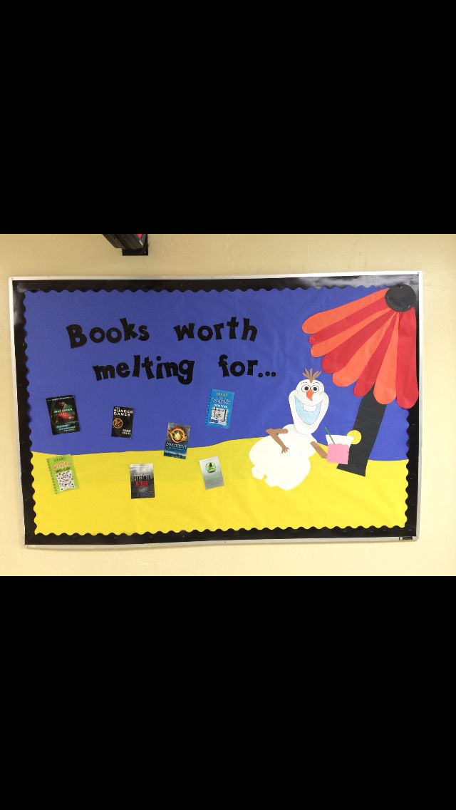 Love my Frozen bulletin board!!<---wish I'd seen this before our library played frozen yesterday.