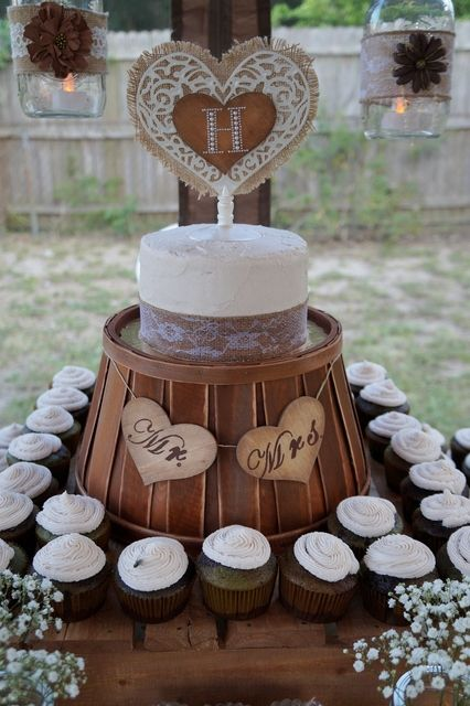 Country Chic Wedding Party cake and cupcakes!  See more party ideas at CatchMyParty.com!