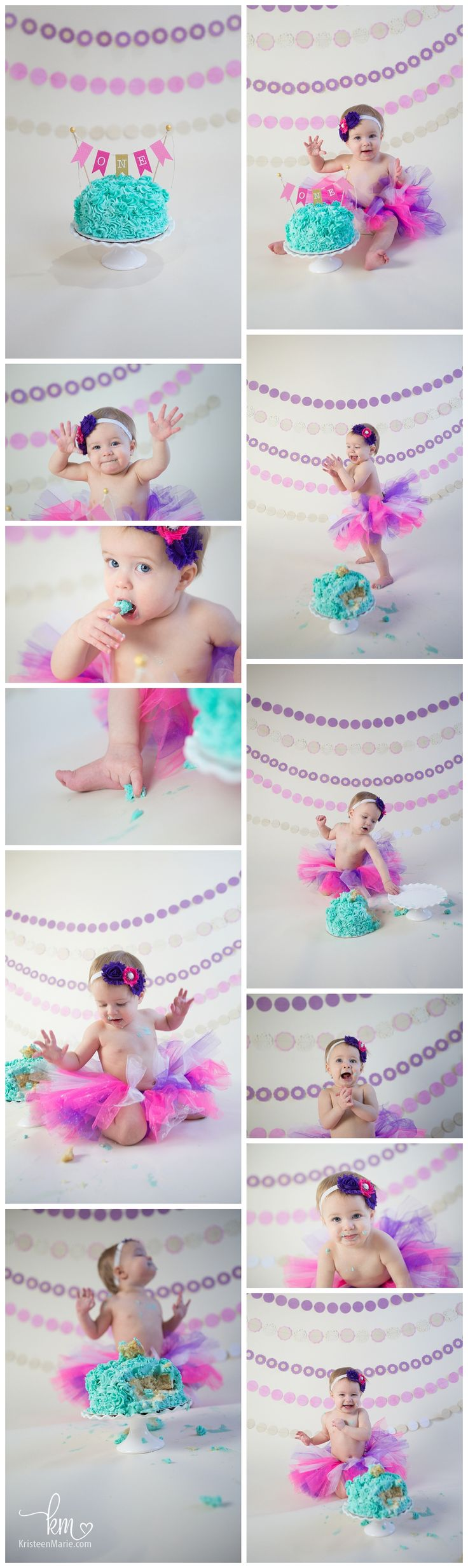 Pink and Purple Cake Smash Photography - Pink Purple and Teal Birthday Pictures