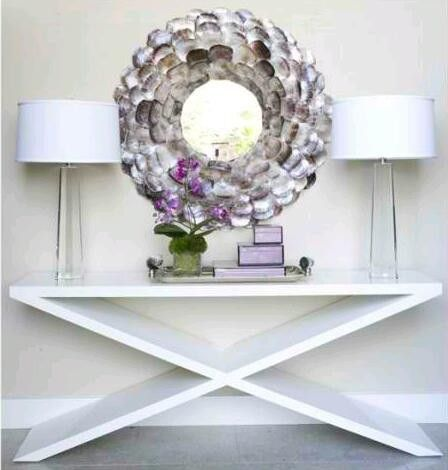 Coastal Modern Glamour Foyer - LOVE the mirror!Modern Glamour, Shells Mirrors, Coastal Modern, Beach House, Consoles Tables, Sofas Tables, Glamour Foyers, Oysters Shells, Console Tables