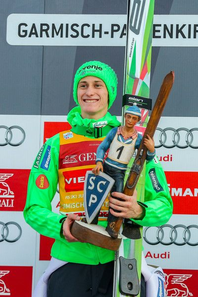 Peter Prevc Photos Photos - (FRANCE OUT) Peter Prevc of Slovenia takes 1st place during the FIS Nordic World Cup Four Hills Tournament on January 1, 2016 in Garmisch-Partenkirchen, Germany. - 64th Four Hills Tournament - Garmisch-Partenkirchen Day 2