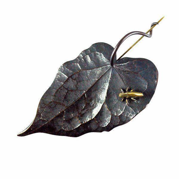 Gabriella Kiss Bronze Leaf Pin with 18k Leafhopper