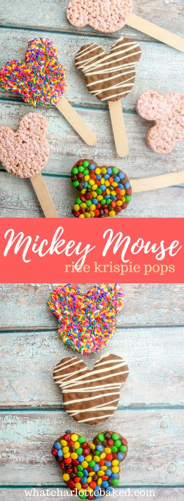 Marshmallow Rice Krispies Mickey Mouse Pops http://whatcharlottebaked.com/2018/02/23/marshmallow-rice-krispies-mickey-mouse-pops/