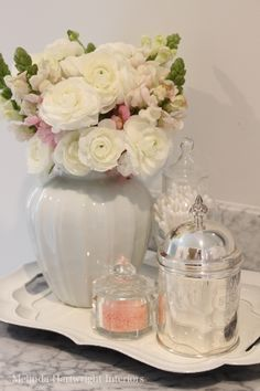Pink and white bathroom accessories
