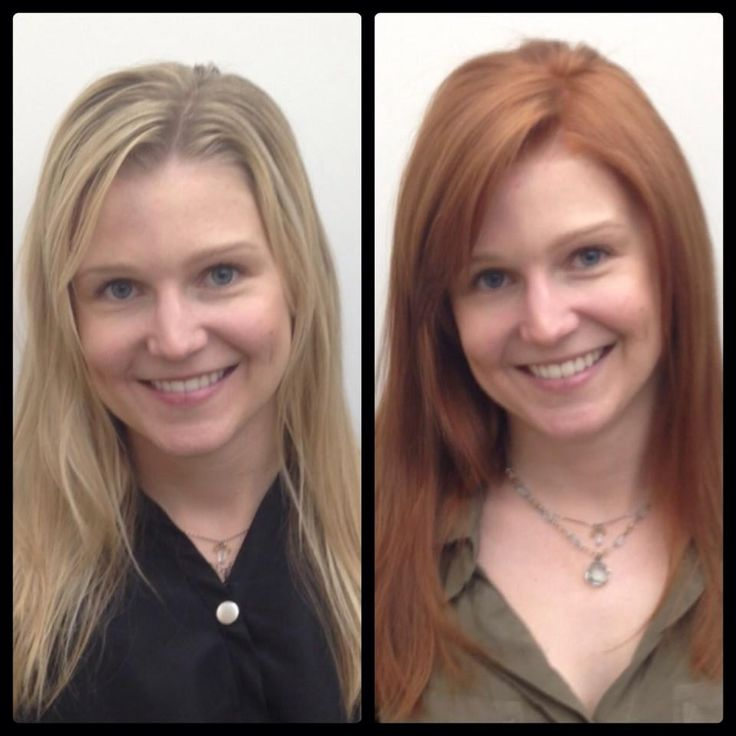 Photo of Megan Kelley Salon Atlanta - Sandy Springs, GA, United States. Ashley - before and after -- blonde to red