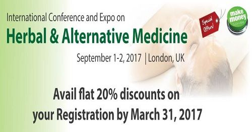 Flat 20% discount on Registration until March 31, 2017  Allied Academies cordially invites all the participants across the globe from leading universities, clinical research institutions, diagnostic companies and all interested to share their research experiences. Allied Conferences http://herbal.alliedacademies.com/registration