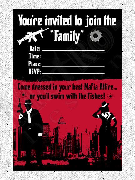 Mobster Theme Invitation - Digital File