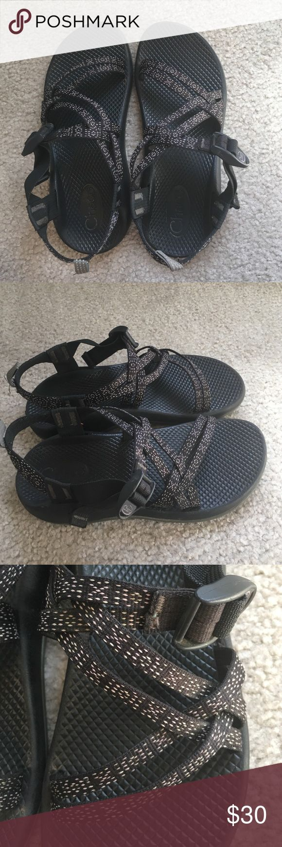 Kids Chacos Size 5 Hugs & Kisses Great quality chacos in perfect condition. Lightly used. The black, light pink, and white print makes it easy to pair them! Size 5 in kids but they fit me and I am a size 7 in women's! Chacos Shoes Sandals