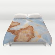 Baby Blue Marble with Rusty Veining Duvet Cover #agate #quartz #rocks #minerals #crystals #prettystuff #hygge