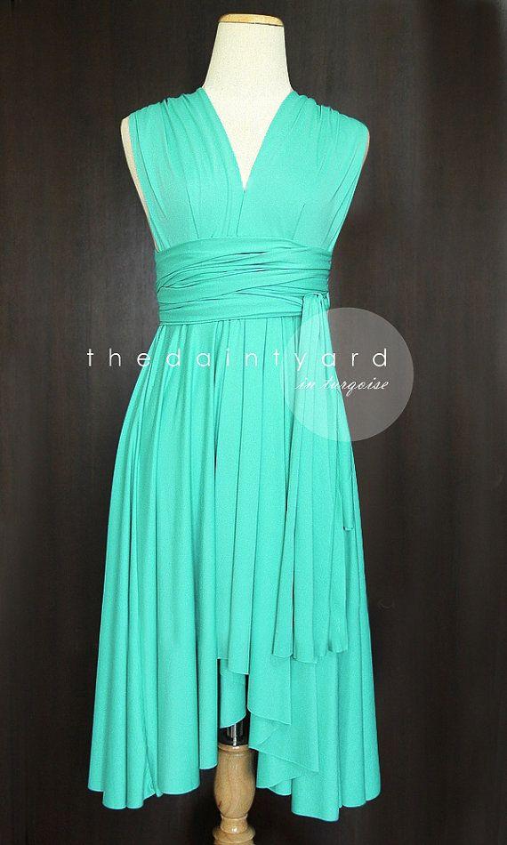 Turquoise Bridesmaid Convertible Dress Infinity Dress Multiway Dress Wrap Dress Wedding Dress on Etsy, $34.00