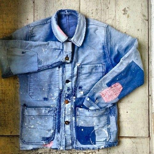 Vintage chore jacket repair