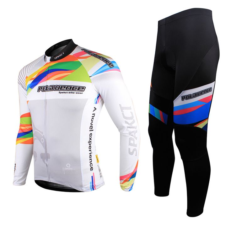 SPAKCT High Visibility, Full Zipper, Race Fit SPAKCT Bike Men's Cycling Suits Long Sleeve Jersey & Tights Pants-Provence