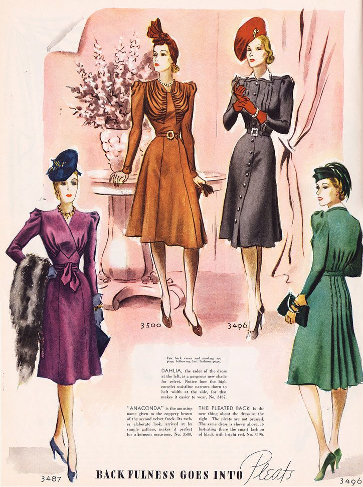 Sleeved evening dresses of the 1940s emphasize their belts, buttons, and pleating.