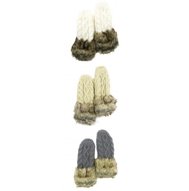 Cable Knit Mitts Mittens Faux Fur Trim Lined One Size Fits Most NWT Only Gray #Simi #Mittens #Everyday