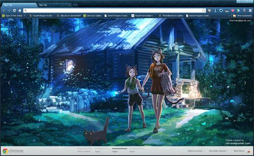 Anime Kitty Girl Google Chrome Theme